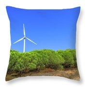 Wind Turbines Landscape Throw Pillow