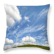 Wind Turbines On A Hill Under A Blue Sky Throw Pillow