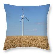 Wind Turbines On Wheat Field Summer Season Throw Pillow