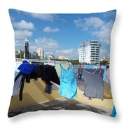 Wind Worn Rooftop Throw Pillow
