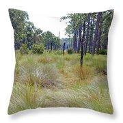 Windblown Grass Throw Pillow