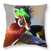 Windblown Wood Duck Throw Pillow