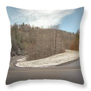 Winding Country Road In Winter Throw Pillow