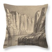 Winding River Through A Rock Formation (philae, Egypt) Throw Pillow