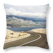 Winding Road In Croatia Throw Pillow