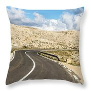 Winding Road On The Pag Island In Croatia Throw Pillow
