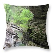Water Falling Throughout The Gorge Throw Pillow