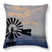 Windmill And Cloud Bank At Sunset Throw Pillow