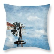 Windmill And Clouds Throw Pillow