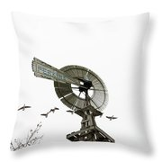 Windmill And Geese Throw Pillow