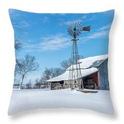 Windmill And Old Barn In Fresh Snow Throw Pillow