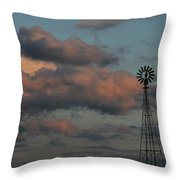 Windmill And Tank At Dusk Throw Pillow