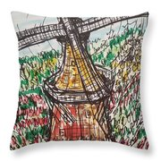 Windmill And Tulips  Throw Pillow