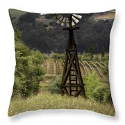 Windmill And Vineyards Throw Pillow