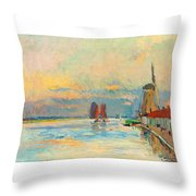 Windmill At A Channel In Rotterdam Throw Pillow