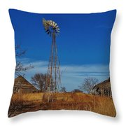 Windmill At An Old Farm In Kansas Throw Pillow