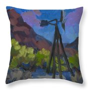 Windmill At Keys Ranch Joshua Tree Throw Pillow