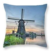 Windmill At Kinderdijk Throw Pillow