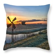 Windmill At Sunrise Throw Pillow
