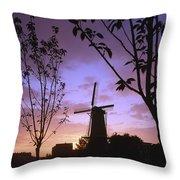Windmill At Sunset Throw Pillow