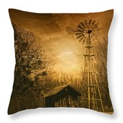 Windmill At Sunset Throw Pillow