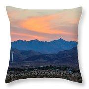Windmill Desert Sunset Throw Pillow
