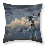 Windmill Energy On Old Prairie Farm Throw Pillow