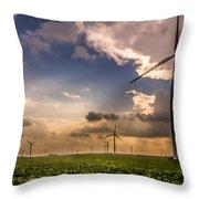 Windmill Farm Throw Pillow