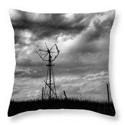 Windmill Foreground A Dramatic Sky Baw Throw Pillow