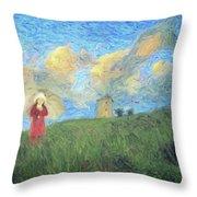 Windmill Girl Throw Pillow