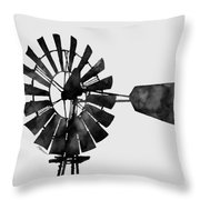 Windmill In Black And White Throw Pillow