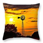 Windmill In Texas Sunset Throw Pillow
