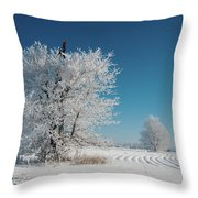 Windmill In The Frost Throw Pillow