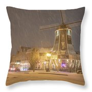 Windmill In The Snow Throw Pillow