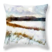Windmill In The Snow Throw Pillow by Valerie Anne Kelly