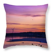 Windmill In The Sunset By The Sea Throw Pillow