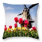 Windmill Island Tulip Gardens Throw Pillow