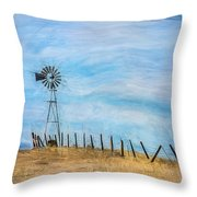 Windmill On The Hill Throw Pillow