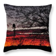 Windmill Sunset Two Throw Pillow