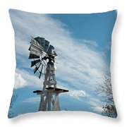 Windmill With White Wood Base Throw Pillow