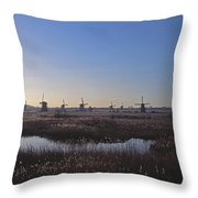 Windmills At Kinderdijk In Wintersun Throw Pillow
