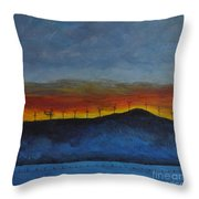 Burney Sunset With Windmills Throw Pillow