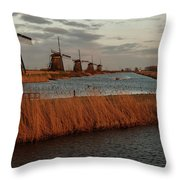Windmills In The Evening Sun Throw Pillow
