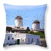 Windmills Mykonos Throw Pillow