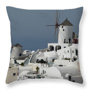 Windmills Of Santorini Throw Pillow