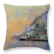 Windmills Of Zaanse Schans Throw Pillow