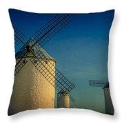 Windmills Under Blue Sky Throw Pillow
