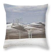 Windmils In Snow Throw Pillow