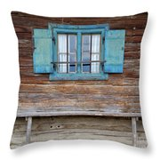 Window And Bench Throw Pillow by Yair Karelic