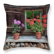 Window And Geraniums Throw Pillow by Yair Karelic